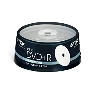TDK DVD+R 4.7Gb 16x Spindle 25 Printable recordable blank tdk dvdr 4.7 gb