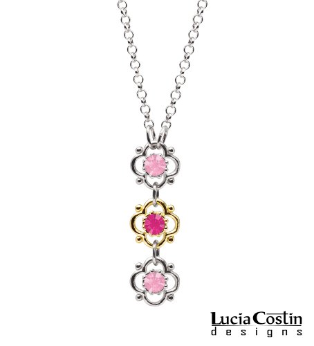 Lucia Costin .925 Sterling Silver with 14K Yellow Gold over .925 Sterling Silver Flower Pendant with 4 Petal Flowers with Dots, Fuchsia and Light Pink Swarovski Crystal Accents; Handmade in USA