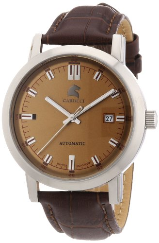 Carucci Watches Men's Automatic Watch Messina CA2195BR with Leather Strap