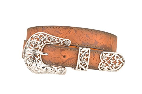 Womens Brown Western Floral Leather Belt with Three Piece Filigree Buckle (S) (Southwestern Belt Buckle compare prices)