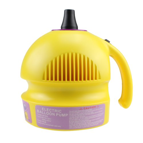 Agptek® Fast Easy To Operate Electric Balloon Air Pump Inflator Yellow Color Single Nozzle 400W 14000Pa