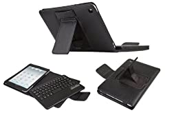 QQ-Tech® Removable Detachable Wireless Bluetooth ABS Keyboard PU Leather Case Tablet Stand for Apple iPad Mini - Black