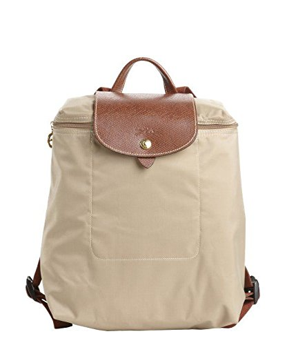 Longchamp discount duty free Longchamp Le Pliage Zippered Nylon Backpack in Beige