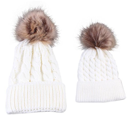 covermason-mommy-and-baby-matching-outfit-knitting-outside-keep-warm-hat-family-wool-hat-cap-white