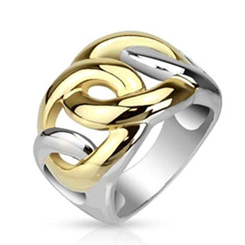 Paula & Fritz anello in acciaio inox larghezza 15 mm argento placcato foglia stampata anello disponibile in diverse misure: 50 (16) (19) - 60, Acciaio inossidabile, 20, cod. R-D1084_09