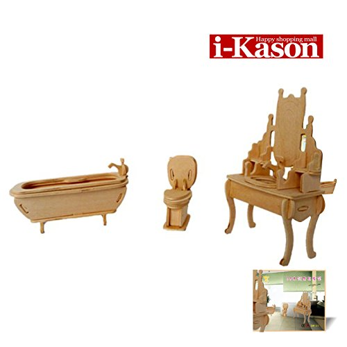 Authentic High Quality i-Kason® New Favorable Imaginative DIY 3D Simulation Model Wooden Puzzle Kit for Children and Adults Artistic Wooden Toys for Children - Sets for Bathrooms