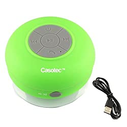 Casotec Wireless Waterproof Bluetooth Shower Speaker:3.0, Portable Speakerphone with Built-in Mic, Control Buttons and Dedicated Suction Cup For Showers, Bathroom, Pool, Car - Green