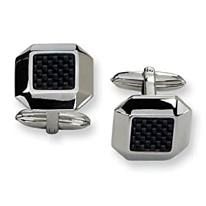 Stainless Steel Carbon Fiber Cuff Links - JewelryWeb