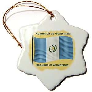 3dRose orn_58781_1 Republic of Guatemala Flag Waving on a Golden Yellow Background Snowflake Porcelain Ornament, 3-Inch