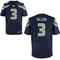 Russell Wilson Seattle Seahawks Blue Jersey 44 Large by Field