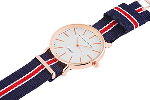Metall rose gold Stoff blau rot Damenuhr Armbanduhr Uhr Herren Stoffband Nylon Damen Leonardo Verrelli