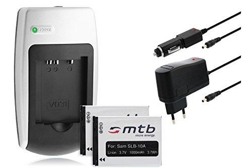 mr!tech mtb more energy BUNDLE: 2 Akkus SLB-10A + Ladegerät für Samsung WB710 WB750 WB850F WB855F... - s. Liste
