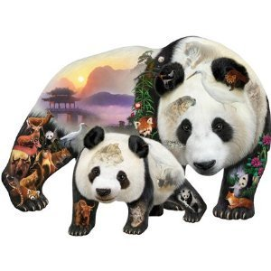 Cheap SunsOut Dennis Rogers Panda Playground Shaped Jigsaw Puzzle (B001YK1P7C)