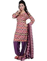 Exotic India Multi-Color Choodidaar Kameez Suit With Digital Ikat - Multi Color