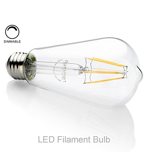 FluxSmart 8W Dimmable Edison Style Vintage LED Filament Light Bulb, 2700K Warm White, 800 Lumen, E26 Base ST21/ST64 Lamp, 60W Incandescent Bulb Equivalent (8) (Incandescent Light Bulbs 60w compare prices)