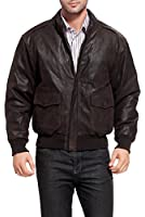 Landing Leathers Air Force Men's A-2 Distressed Goatskin Leather Flight Bomber Jacket