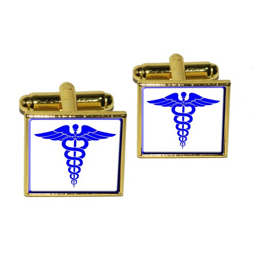 Caduceus Medical Symbol Blue - Doctor Md Rn Emt Square Cufflink Set - Gold
