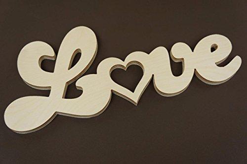 1x deko wortform love schild holz basteln schriftzug. Black Bedroom Furniture Sets. Home Design Ideas