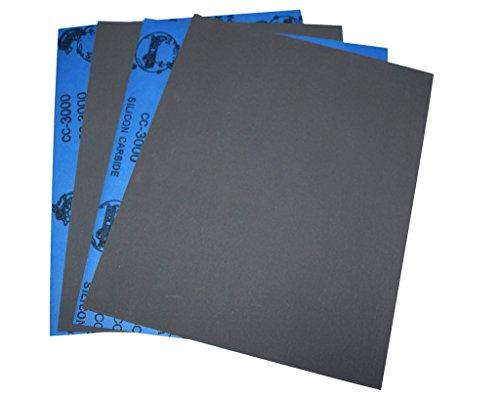 """Confezione da 10 fogli di carta abrasiva 22,86 cm (9"""") 27,94 (11 cm x cm, 230 x 280 mm, in carburo di silicio, 3000 grit, per lavorazioni a secco/ad"""