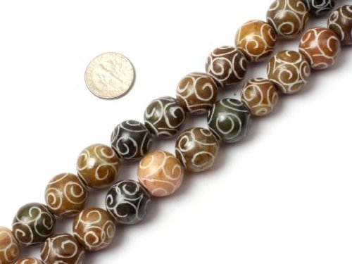 Sweet & Happy Girl'S Store 15mm Round Gemstone Hua Show Jade Beads Strand 15