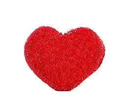 Red 50*40cm Christmas Roses Flower Throw Pillow Satin Plush Body Cushion Heart