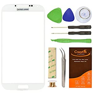Samsung Galaxy SIV S4 I9500 White Front Outer Lens Glass Screen Replacement CrazyFire Repair Kit Include Screen Lens Glass 1MM Adhesive Tape 7pcs Tools Kit 1 Pair Tweezers 1 Roll Gold Wire Screen Seperator Compatible I337 L720 M919 I545