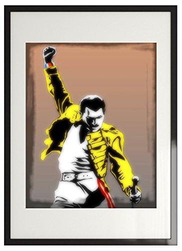 Imagenation Freddy Mercury 'giallo giacca soffusa'-stampa con cornice in legno nero cm 50x 70cm-pronto da appendere