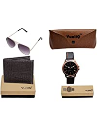 Combo Pack Of Black Denim Shade Wallet With YuniiQ Black Aviators With YuniiQ Copper Stylish Watch