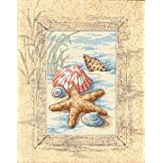 Dimensions Crafts Matted Accents Shells In The Sand Counted Cross Stitch Kit 8