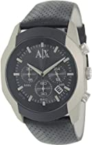 Armani Exchange Chronograph Black Dial Black Leather Mens Watch AX1198