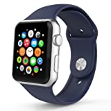 Apple Watch Sport Band 38mm, Marge Plus Soft Silicone Replacement Sport Style Band for Apple Watch Models iWatch Band Strap 38mm Midnight Blue