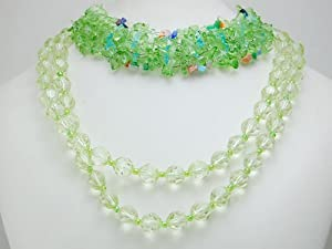 Lime Green Glass Bead Multi Strands Chunky Clustered Wrap Layered Cute Necklace