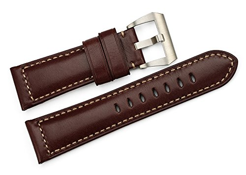 istrap-26mm-smooth-finish-hand-stitched-calf-leather-watch-strap-padded-pam-belt-dark-brown