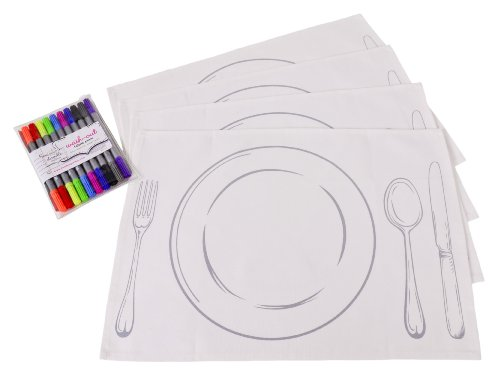 Doodle White Placemats With Plate Design, to Colour-in and Personalize, with Wash-out Fabric Markers included (Set of 4 White Place Mats)