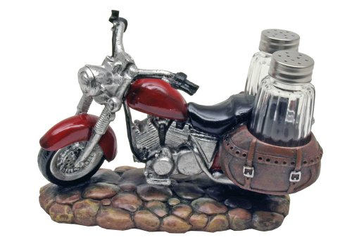 Vintage Red Motorcycle Biker Decorative Salt & Pepper Shaker Set
