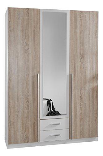 Wimex-119484-Kleiderschrank-3-trig-mit-zwei-Schubksten-und-einer-Spiegeltr-Front-Korpus-Auentren-Eiche-Sgerau-Nachbildung-135-x-198-x-58-cm