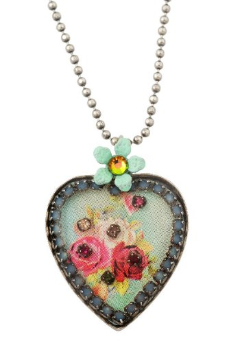 Michal Negrin Heart Pendant with Roses Bouquet, Hand-painted Flower and Blue Swarovski Crystals - Very Feminine, Made in Israel