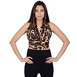 Danzon Women's Top (SLS90127_Black Brown Animal Print_Medium)