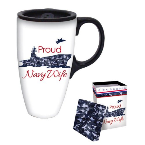 Proud Navy Wife Boxed Ceramic Latte Travel Mug 17oz