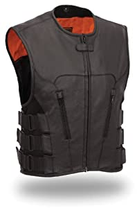 Mens Updated SWAT Team Leather Motorcycle Vest Style Vest Soft Buffalo Leather Orange... by The Nekid Cow