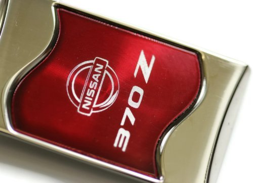 Nissan 370 z 370Z Rectangular Wave Red Key Fob Authentic Logo Key Chain Key Ring Keychain Lanyard (Nissan 370 Z compare prices)