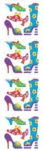 Jillson Roberts Prismatic Stickers, Mini Shoes, 12-Sheet Count (S7295)