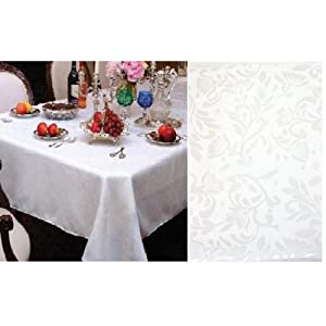 "Amazon.com - White Damask Table Cloth Linens 60"" X 90"" Rectangle"