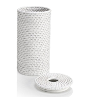 White Rattan Toilet Roll Holder