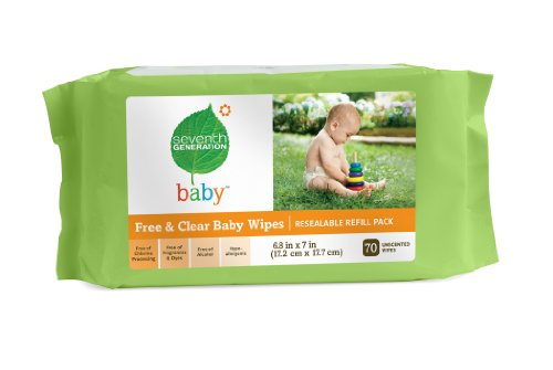 Seventh Generation Original Soft and Gentle Free & Clear Baby Wipes, 350 Count (Pack of 5)