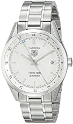 TAG Heuer Men's WV2116.BA0787 Carrera Calibre 7 Twin Time Automatic White Dial Steel Bracelet Watch