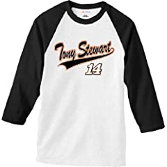 NASCAR Tony Stewart #14 Sports Tech White Raglan T-Shirt by Checkered Flag