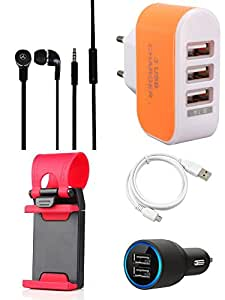 NIROSHA Cover Case Car Charger Headphone USB Cable Mobile Holder Charger for Moto G3 3rd Gen - Combo