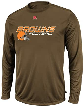 NFL Mens Cleveland Browns Short Yardage IV Long Sleeve Crew Neck Synthetic Tee (Classic Brown, XX-Large)