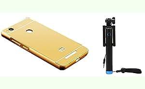 Novo Style Back Cover Case with Bumper Frame Case for Xiaomi Mi Redmi 2s + Wired Selfie Stick No Battery Charging Premium Sturdy Design Best Pocket SizedSelfie Stick